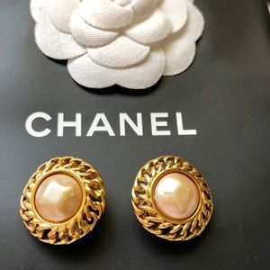 CHANEL Pearl Clip On Gold Plated Earrings Vintage